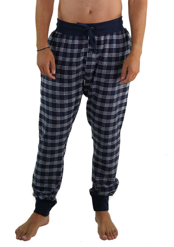 Men's Flannel Jogger Lounge Pants - BLACK/GREY Sleepwear Pants Members Only