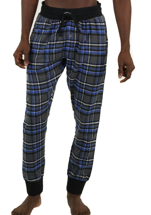 Men's Flannel Jogger Lounge Pants - CHARCOAL/BLUE