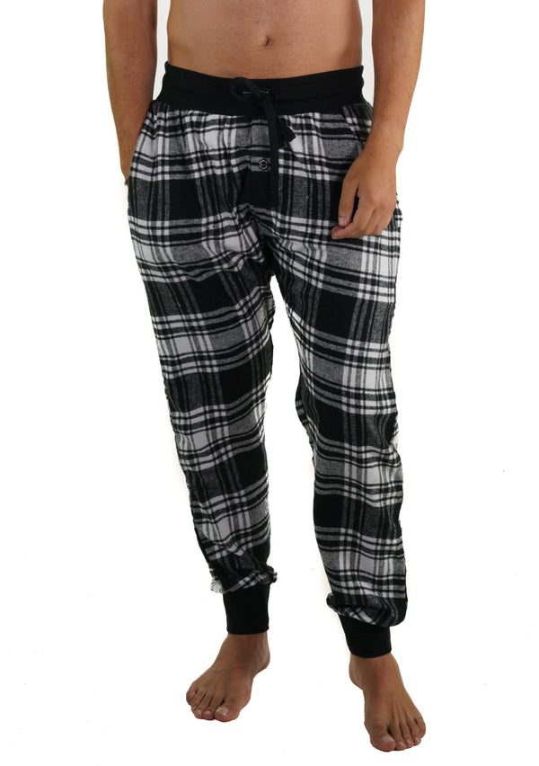 Men's Flannel Jogger Lounge Pants - Black/White Sleepwear Pants Members Only BLACK/WHITE SMALL