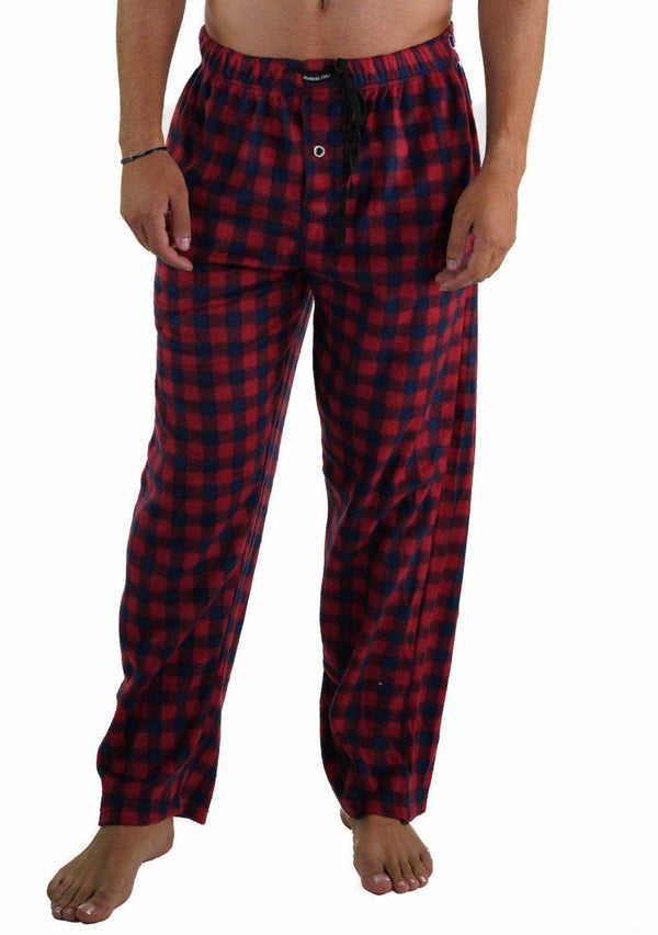 Men's Minky Fleece Sleep Pants - RED PLAID Sleepwear Pants Members Only