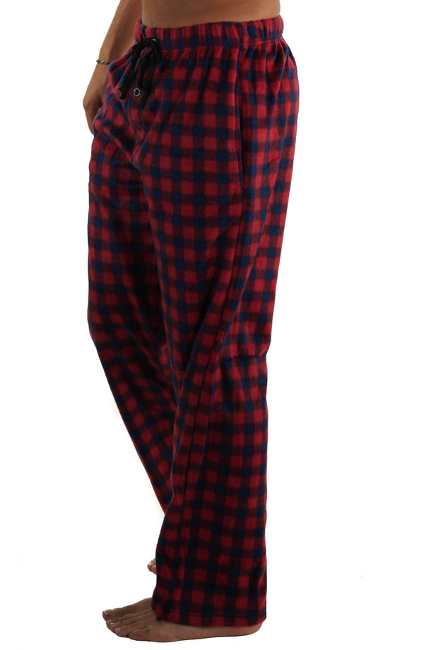 Men's Minky Fleece Sleep Pants - RED PLAID Sleepwear Pants Members Only RED PLAID SMALL