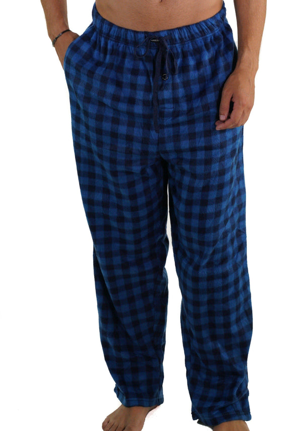 Men's Minky Fleece Sleep Pants - BLUE PLAID Sleepwear Pants Members Only BLUE PLAID SMALL