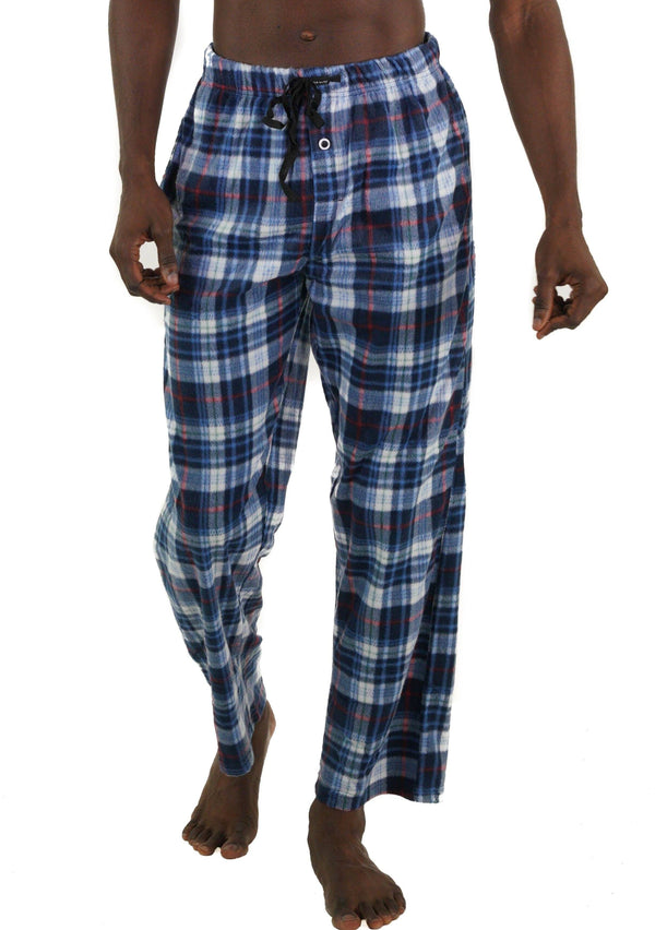 Men's Minky Fleece Sleep Pants - LT BLUE PLAID Sleepwear Pants Members Only LT BLUE PLAID SMALL