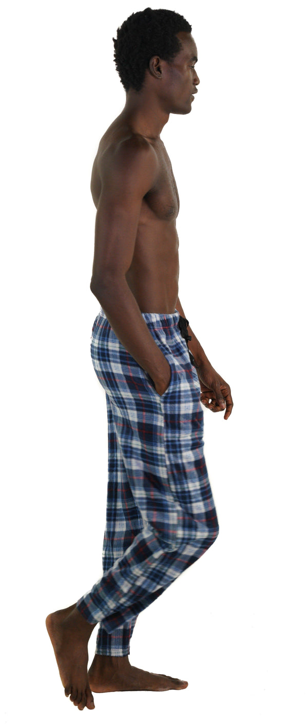 Men's Minky Fleece Sleep Pants - LT BLUE PLAID Sleepwear Pants Members Only
