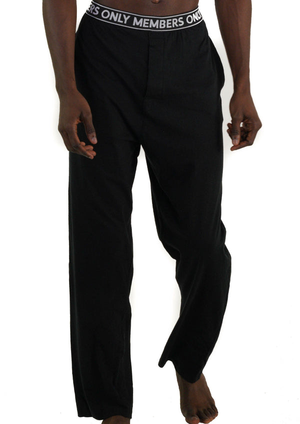 Men's Jersey Sleep Pant Logo Elastic - Black