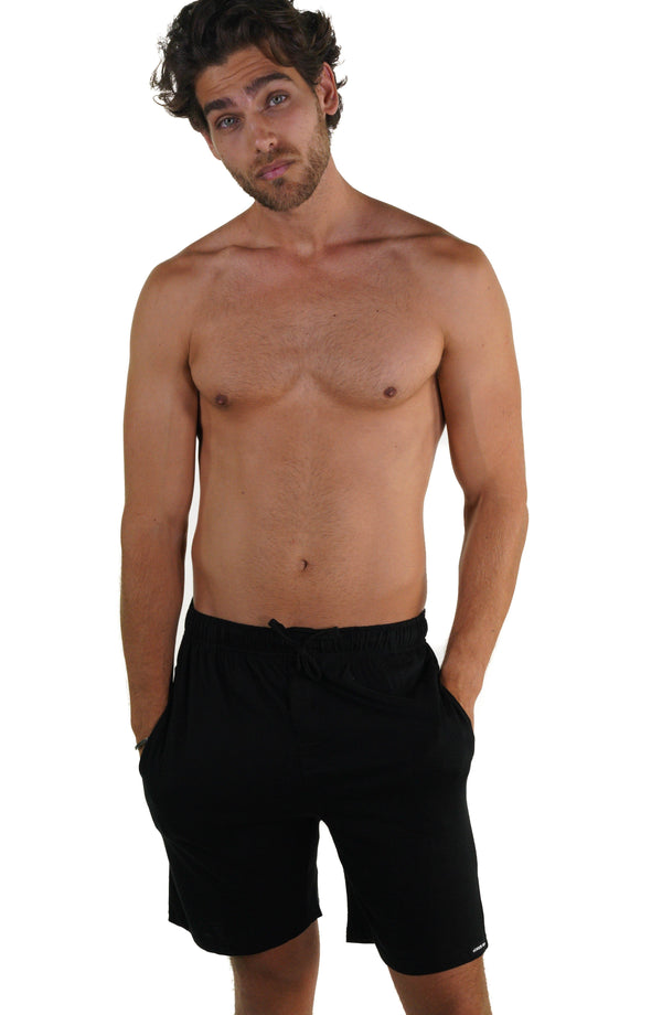 Men's Jersey Sleep Shorts - Black Sleepwear Pants Members Only