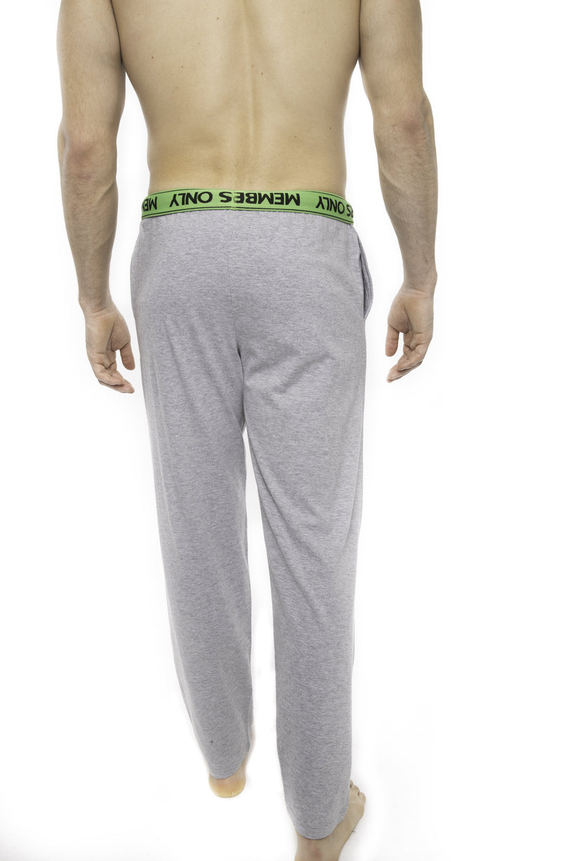 Members Only Heather Contrast Elastic Sleep Pants - GREY GREEN Sleepwear Pants Members Only