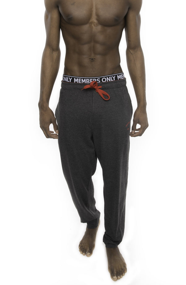 Members Only Heather Contrast Elastic Sleep Pants - CHARCOAL RED Sleepwear Pants Members Only
