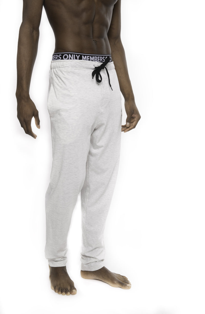 Members Only Heather Contrast Elastic Sleep Pants - GREY BLACK Sleepwear Pants Members Only GREY BLACK SMALL