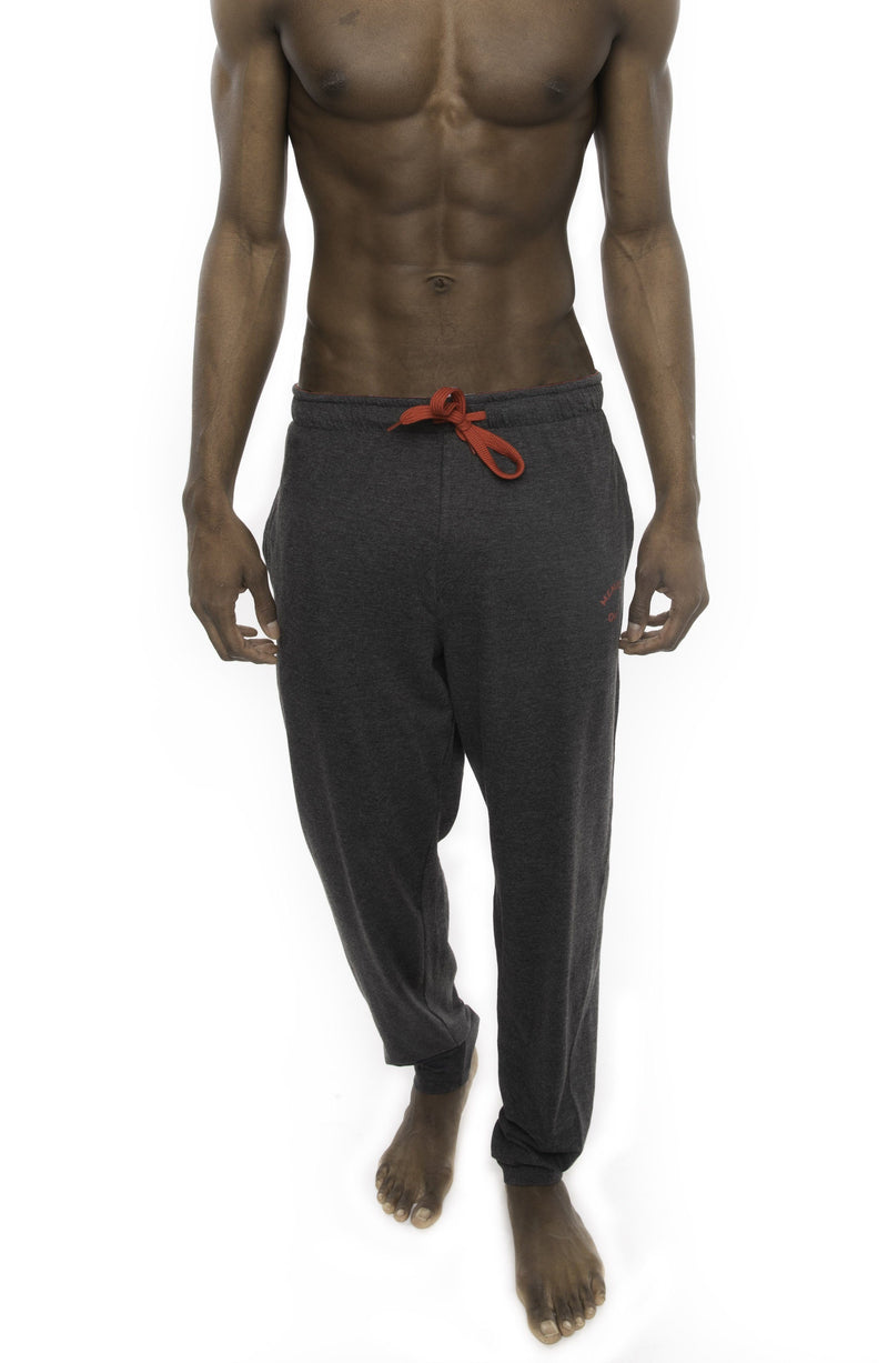 Members Only Heather Contrast Elastic Sleep Pants - CHARCOAL RED Sleepwear Pants Members Only CHARCOAL RED SMALL