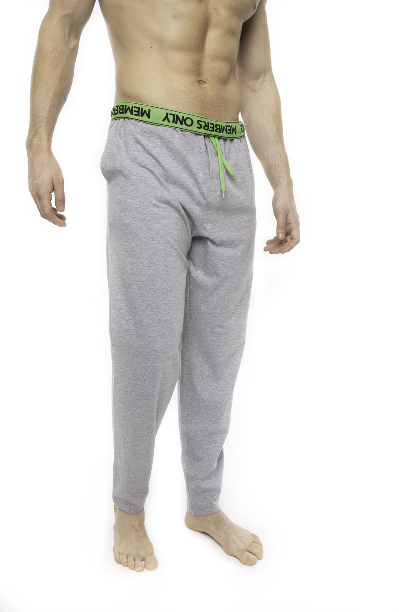 Members Only Heather Contrast Elastic Sleep Pants - GREY GREEN Sleepwear Pants Members Only GREY GREEN SMALL