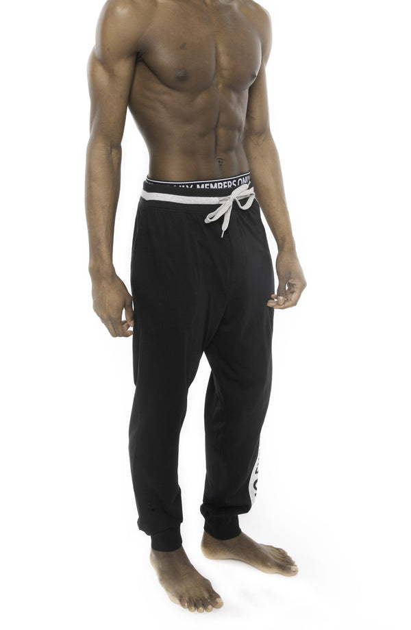 Members Only Logo Leg Jersey Sleep Jogger - Black Sleepwear Pants Members Only