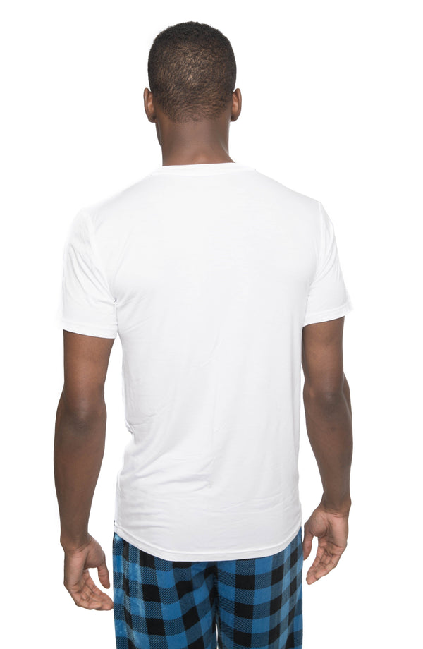 Members Only Short Sleeve Bamboo Rayon Sleep Shirt - WHITE Sleepwear Pants Members Only