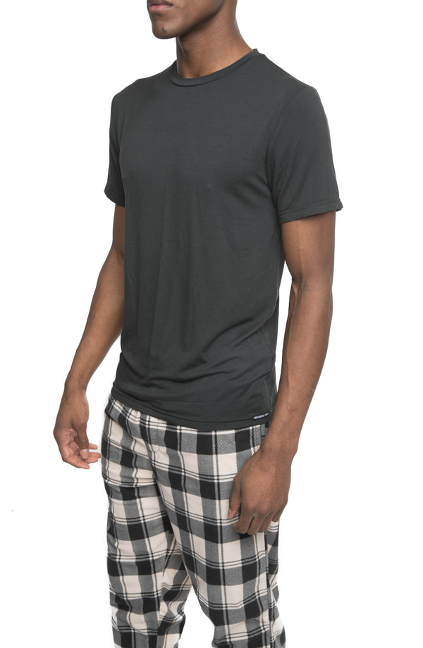 Members Only Short Sleeve Bamboo Rayon Sleep Shirt - BLACK Sleepwear Pants Members Only