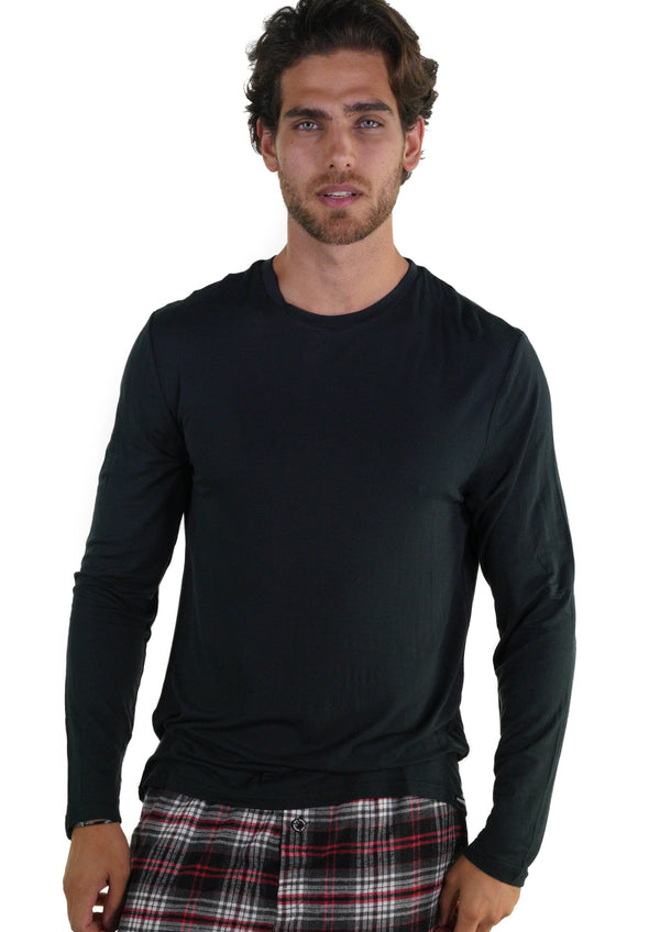 Men's Bamboo Rayon Long Sleeve Knit Sleep Shirt - Black