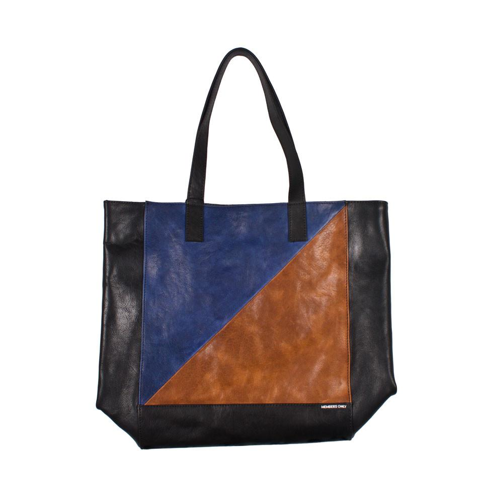 Navy tri color leather tote