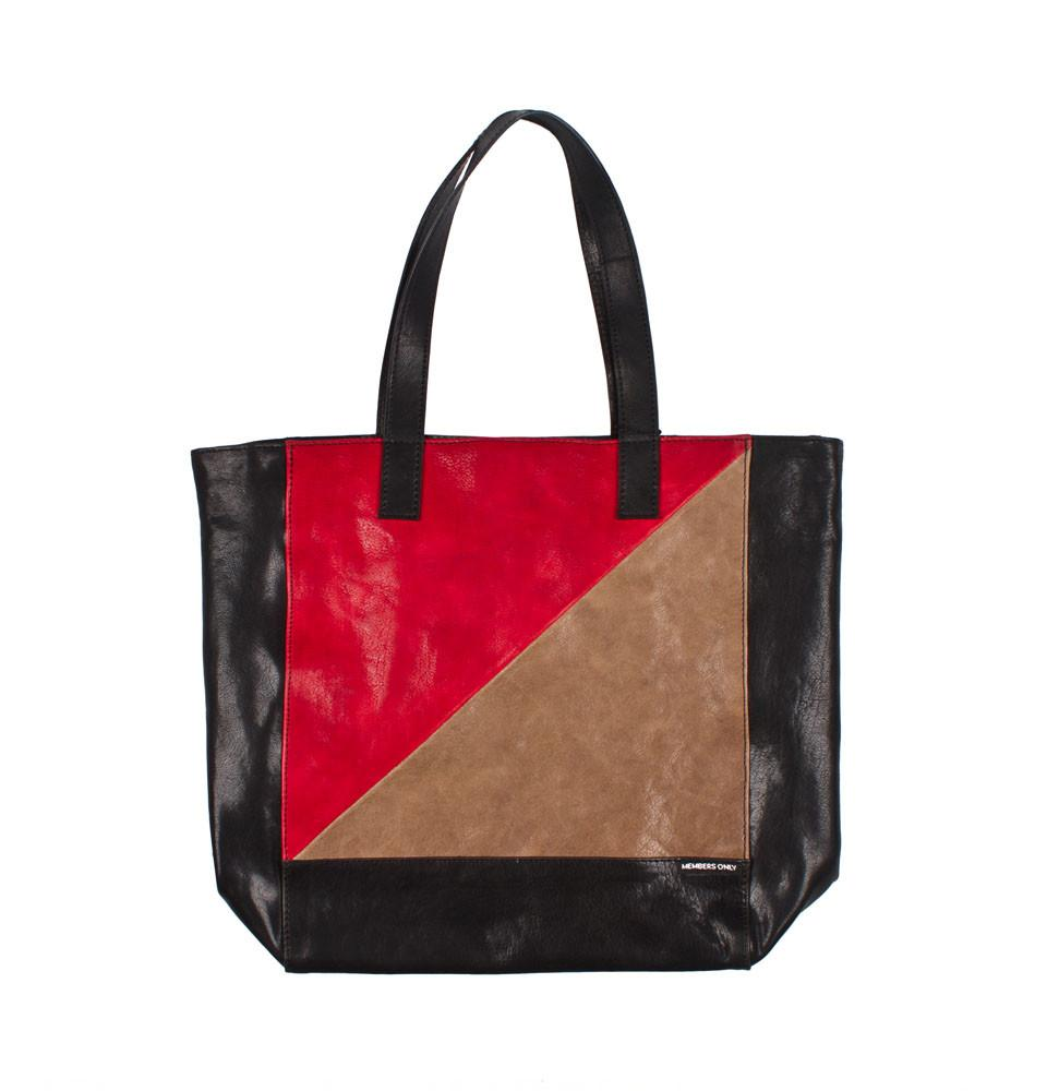 Red tri color leather tote