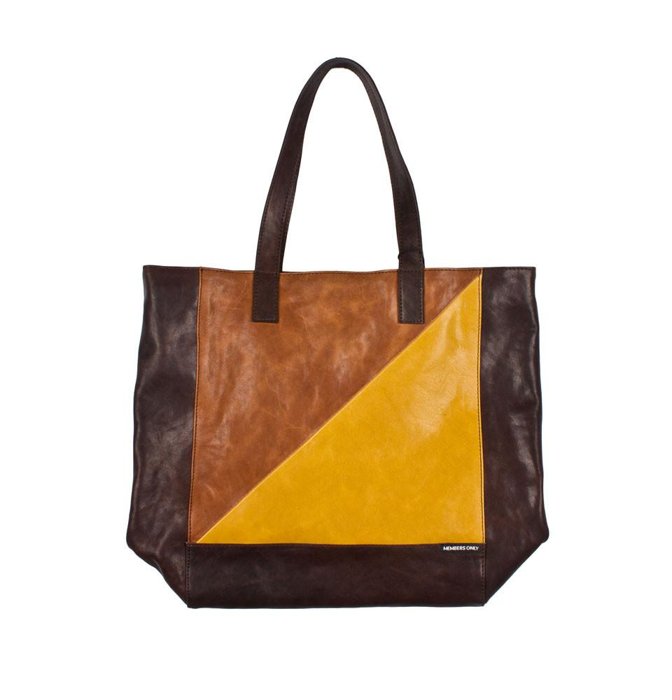 Yellow tri color leather tote