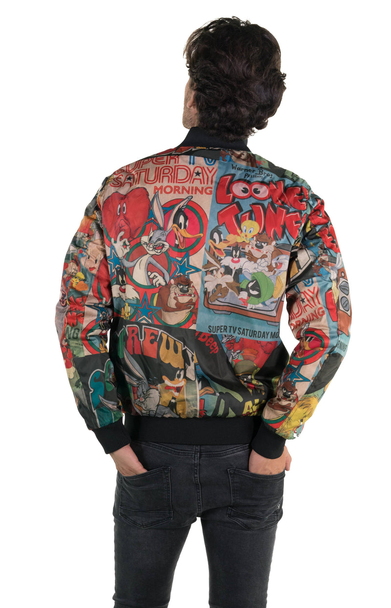 Men's Looney Tunes Vintage Mash Print Jacket Black  Back