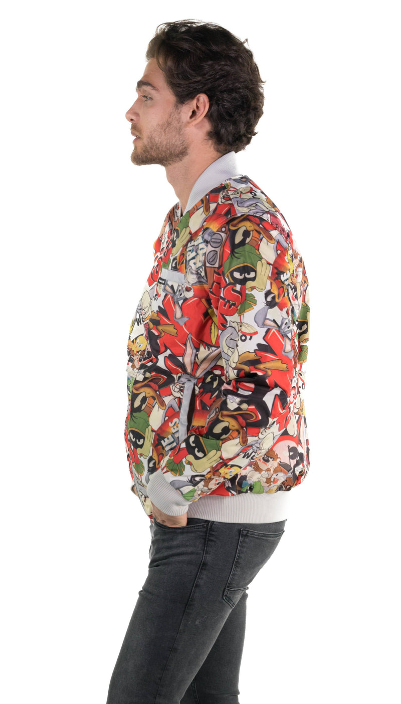 Men's Looney Tunes Vintage Mash Print Jacket Silver Side