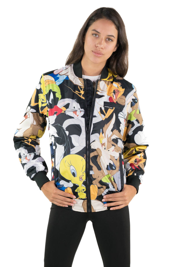 Men's Looney Tunes Mash Print Bomber Jacket for Women