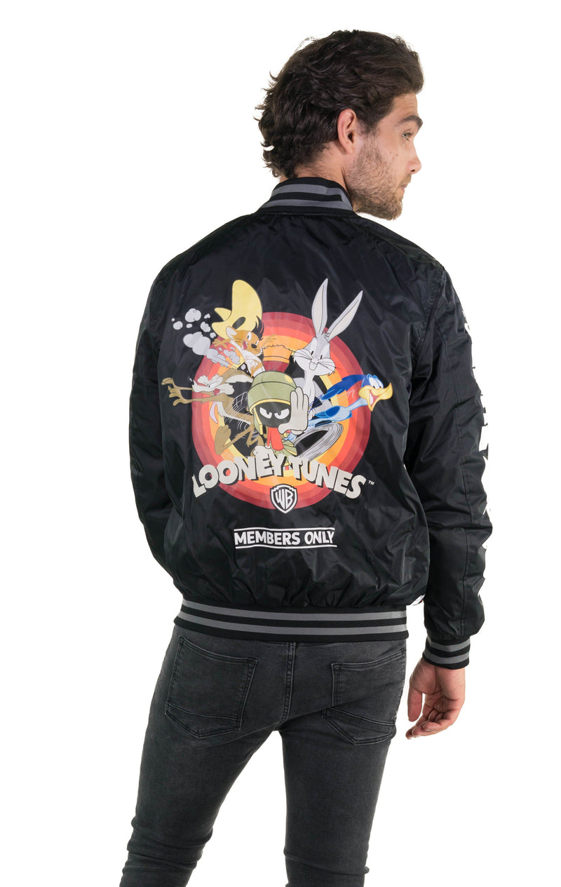 Members Only Men's Looney Tunes Mash Print Bomber Jacket Back