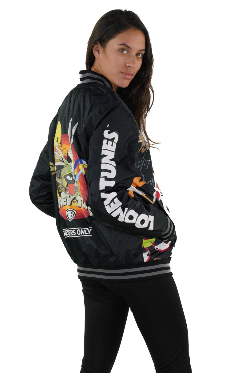 Men' s Looney Tunes Mash Print Bomber Jacket with Looney Tunes Logo Print on Sleeve for Women