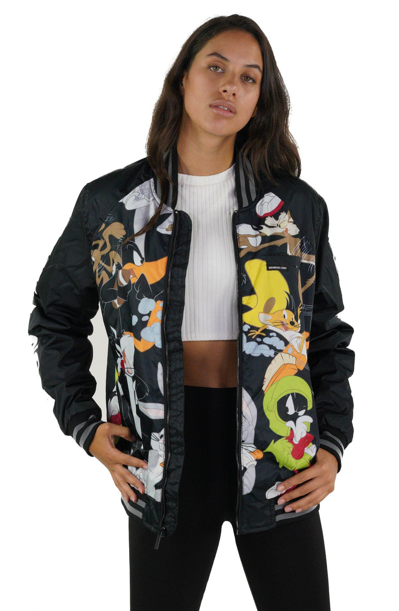 Looney Tunes Mash Print Bomber Jacket with Looney Tunes Logo Print on Sleeve for Women
