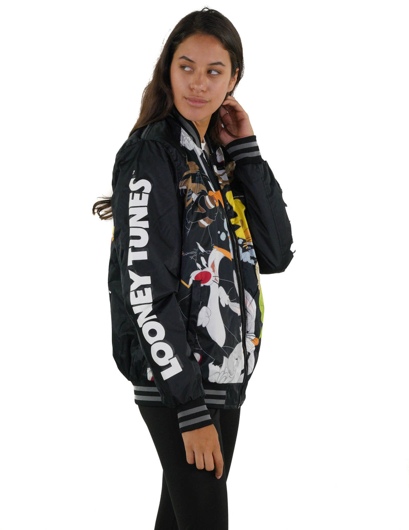 Members Only Looney Tunes Mash Print Bomber Jacket with Looney Tunes Logo Print on Sleeve for Women