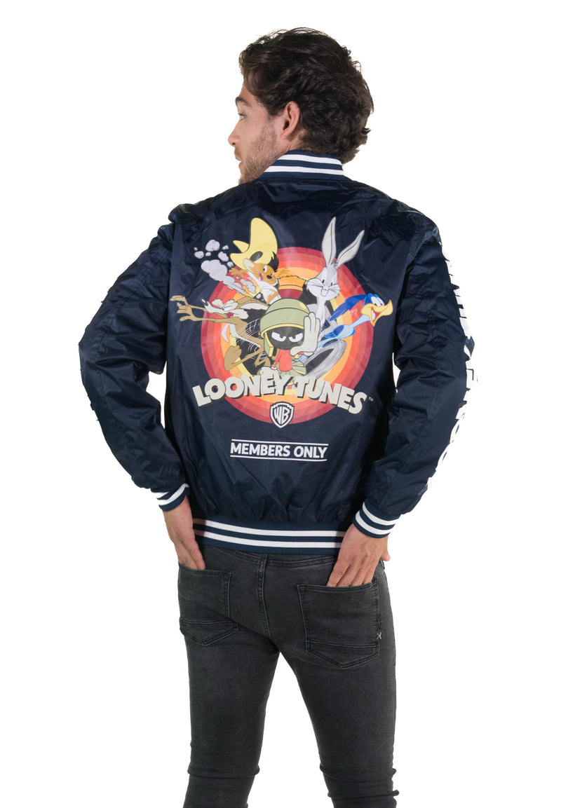 Men's Looney Tunes Mash Print Bomber Jacket with Looney Tunes Logo Print on Sleeve