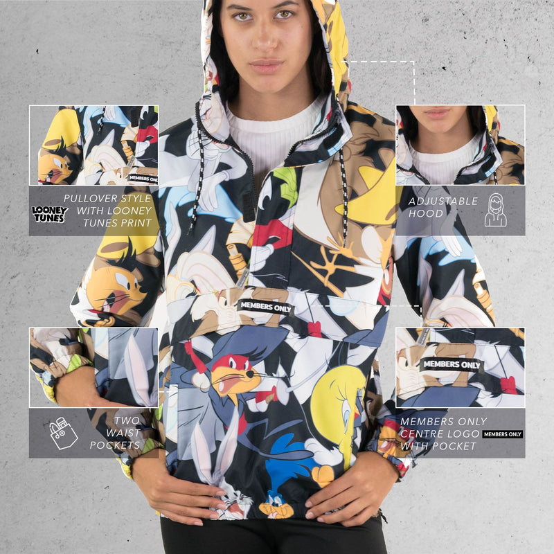 Members Only Men's Looney Tunes Print Popover Jacket for Women