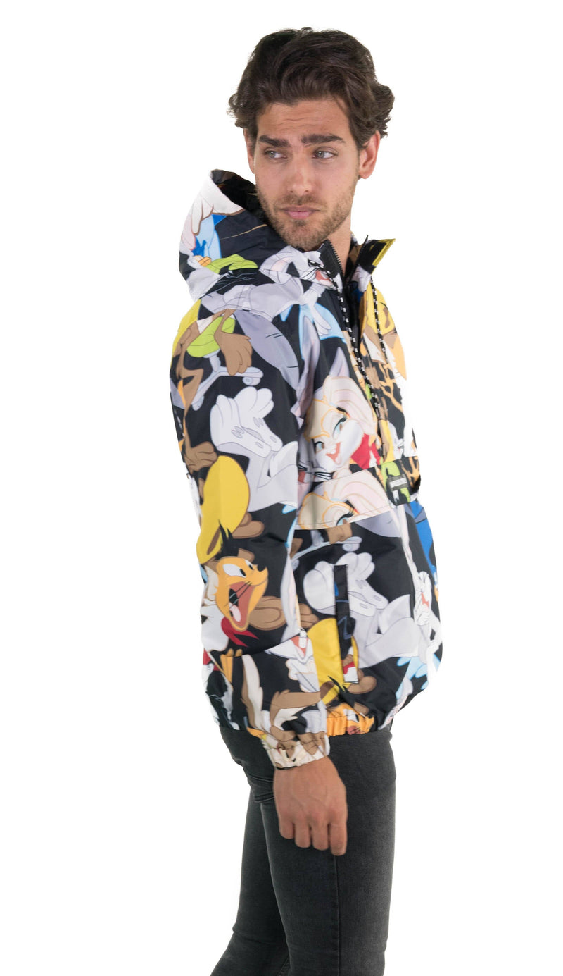 Men Looney Tunes Print Popover Jacket