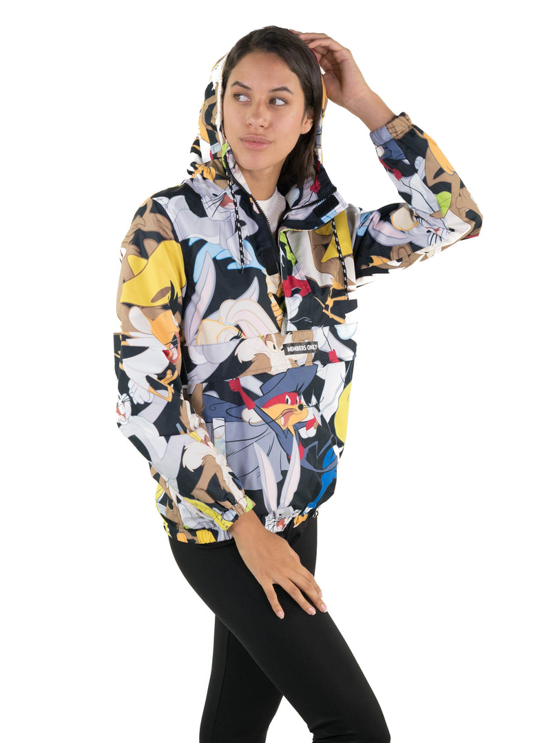Men Looney Tunes Print Popover Jacket for Women