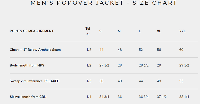 Men's Popover Jacket Size Chart
