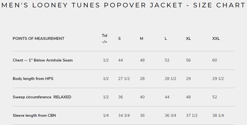 Men Looney Tunes Popover Jacket Size Chart