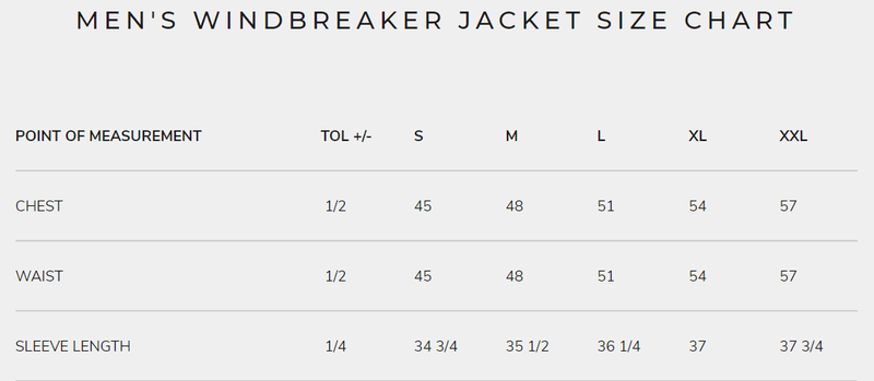 Men's Windbreaker Jacket Size Chart