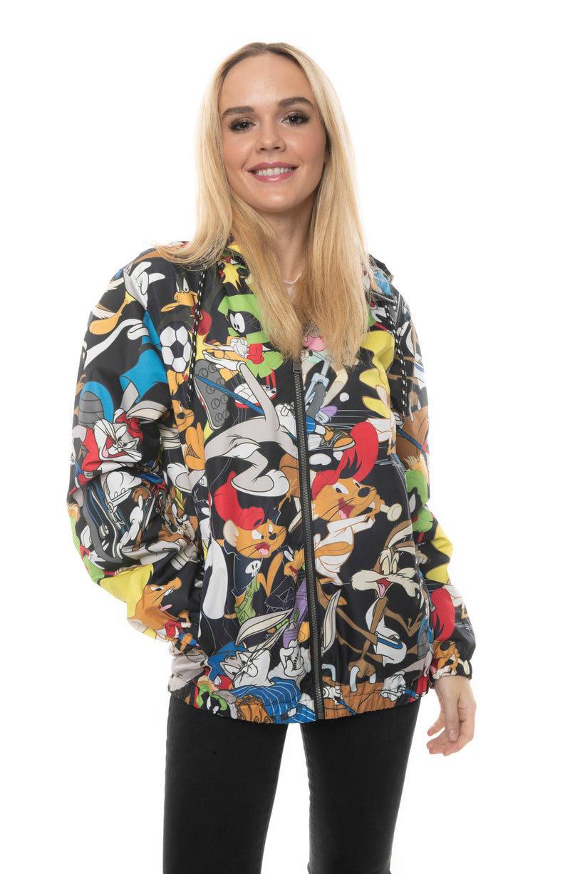 Mens Looney Tunes Collab Print Windbreaker Jacket For Women
