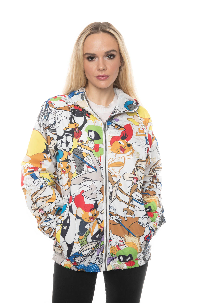 Looney Tunes Collab Print Windbreaker Jacket For Women - White