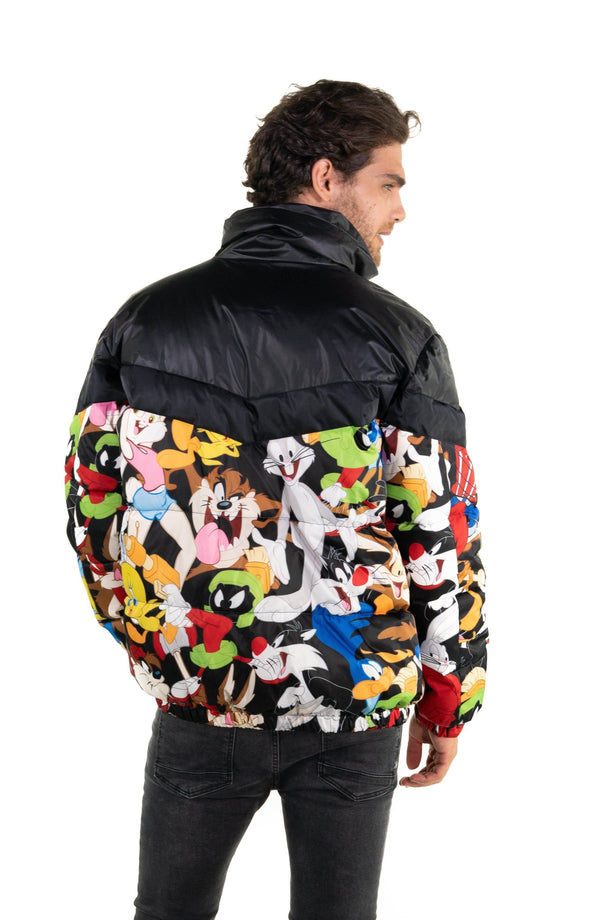Men's Looney Tunes Puffer Jacket Unisex Members Only Official BLACK Small