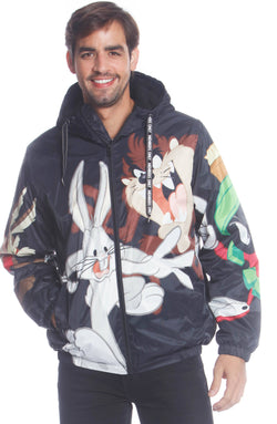 Men's Looney Tunes Bugs Placement Jacket Unisex Members Only Official BLACK Small