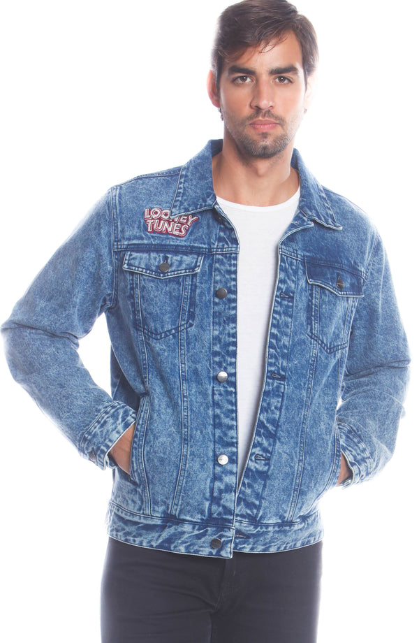Men's Denim Looney Tunes Bugs Placement Jacket Unisex Members Only Official INDIGO Small