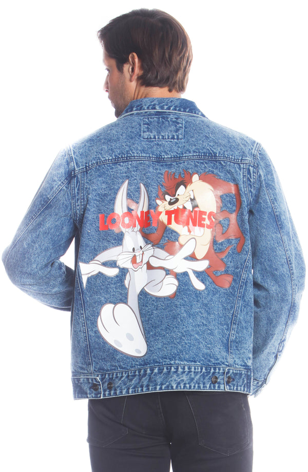 Men's Denim Looney Tunes Bugs Placement Jacket Unisex Members Only Official
