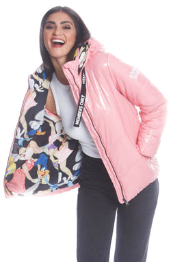 Hi-Shine Chevron Quilt Puffer with Looney Tunes Mashup Print Lining Womens Jacket Members Only Official PINK SMALL
