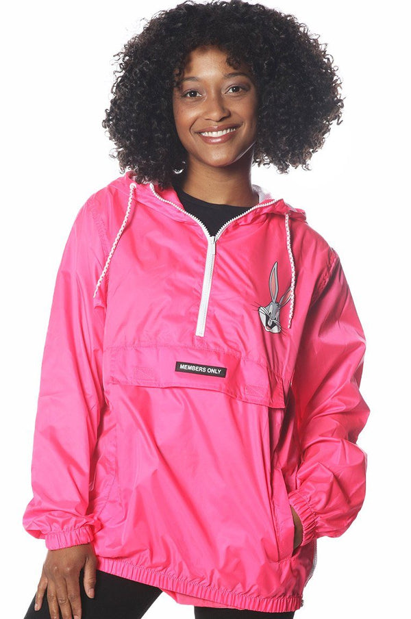 Women's Pink Looney Tunes Popover Windbreaker Jacket jacket Members Only Official PINK NEON Small
