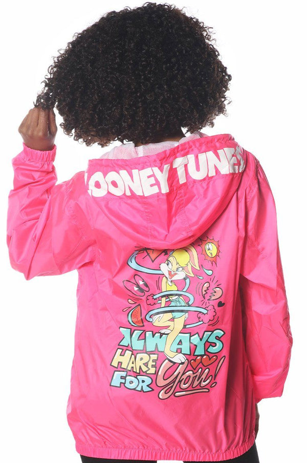 Women's Pink Looney Tunes Popover Windbreaker Jacket jacket Members Only Official