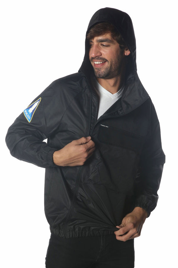 Men's Asymetrical Windbreaker Jacket jacket Members Only Official BLACK X-Large