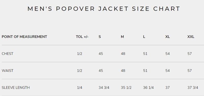 Men's Popover Jackets Size Chart