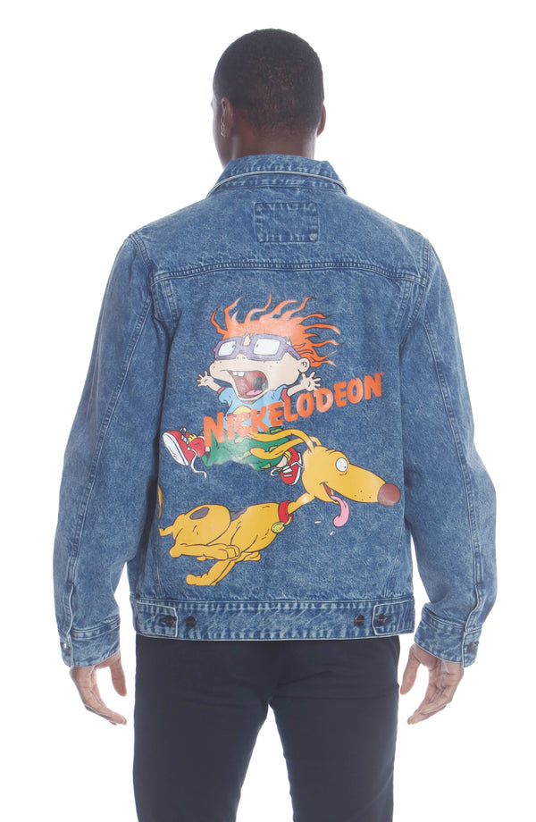 Men's Chucky Placement Nickelodeon Denim Jacket Unisex Members Only Official