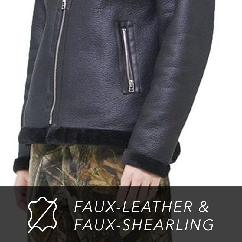 Men's Faux Shearling Biker Jacket