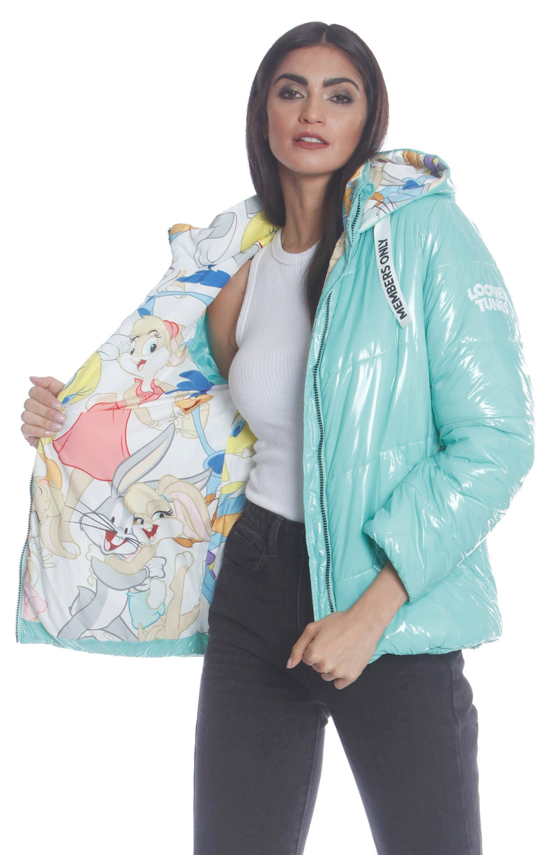 Hi-Shine Chevron Quilt Puffer with Looney Tunes Mashup Print Lining Womens Jacket Silver